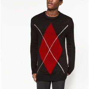 ZARA Black Oversized Argyle Distressed Sweater